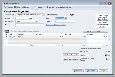 QuickBooks Premier 2009 Receive Payment for NSF Check