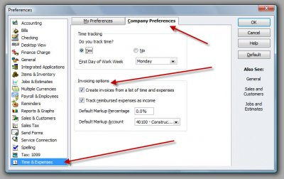 QuickBooks Premier 2009 Preferences Time & Expenses Invoicing