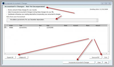 QuickBooks Accountants Copy Incorporate Changes
