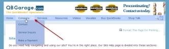 QBGarage.com top level menu