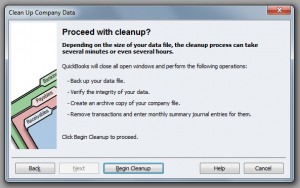 QuickBooks Enterprise Solutions 10 Clean Up Starting the Process