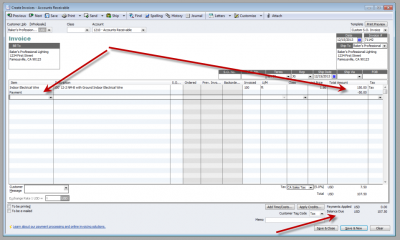 QuickBooks Enterprise Solutions 10 Payment Item on Create Invoice