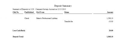QuickBooks Enterprise Solutions 10 Deposit Summary