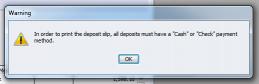 QuickBooks Enterprise Solutions 10 Deposit Warning