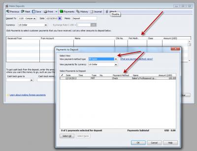 QuickBooks Enterprise Solutions 10 Make Deposit Payment Methods