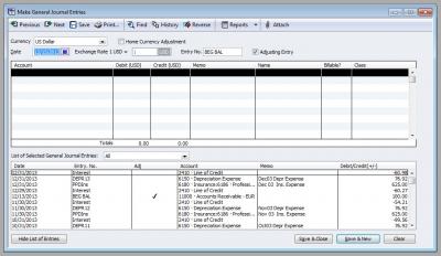 QuickBooks Enterprise Solutions 10 Make General Journal Entry