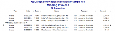 QuickBooks Enterprise Solutions 10 Missing Invoices Report