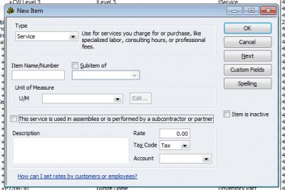 QuickBooks Enterprise Solutions 10 New Item