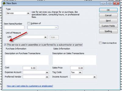 QuickBooks Enterprise Solutions 10 New Item Subcontractor