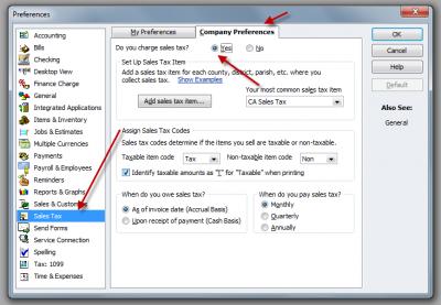 QuickBooks Enterprise Solutions 10 Preferences Sales Tax