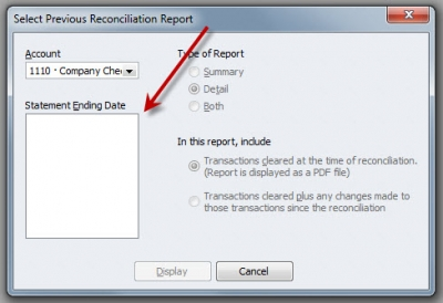 QuickBooks Enterprise Solutions 10 Previous Bank Reconciliation