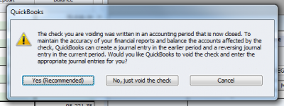 QuickBooks Enterprise Solutions 10 Void Old Check Warning