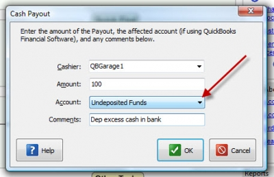 QuickBooks POS 8 Cash Payout Undeposited Funds