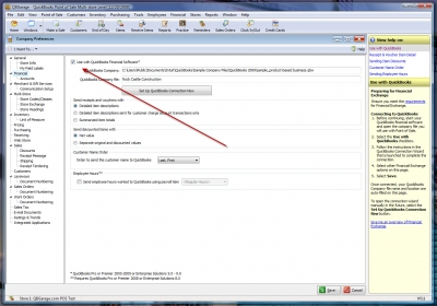 POS 8 Company Preferences Use QuickBooks