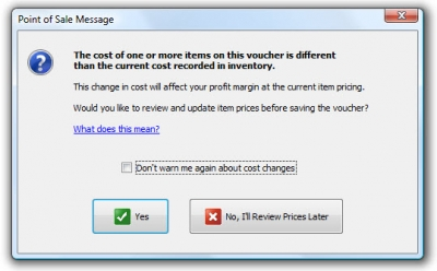 QuickBooks POS 8 Different Cost Message