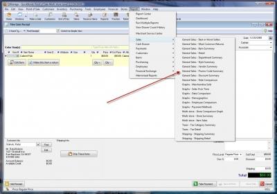 QuickBooks POS 8 Reports Menu Promo Code Summary