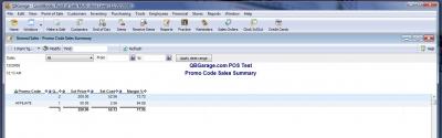 QuickBooks POS 8 Promo Code Summary Report