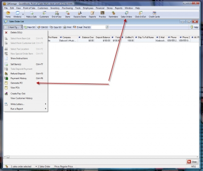 QuickBooks POS 8 Sales Order Generate Purchase Order