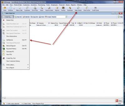 QuickBooks POS 8 Sales Order Sell Item 1