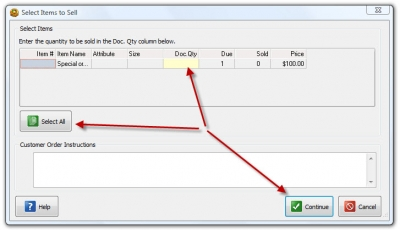 QuickBooks POS 8 Sales Order Sell Item Select Item
