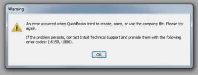 QuickBooks Premier 2010 Error -6150, -1006