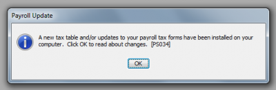 QuickBooks 2010 Payroll Update Complete