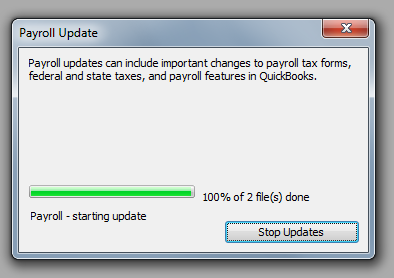 QuickBooks 2010 Payroll Update Progress