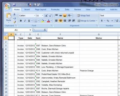 QuickBooks Excel Export 1