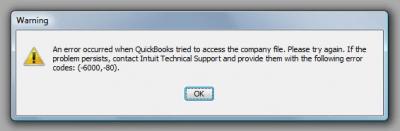 QuickBooks Premier 2007 Error Code -6000 -80
