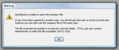 QuickBooks Premier 2007 Error Code -6073, -816