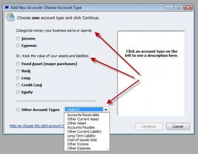 QuickBooks Premier 2009 GL Account Types