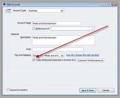 QuickBooks Premier 2009 GL Add Account Track Reimbursed