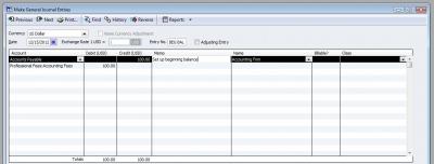 QuickBooks Premier 2009 GL Make General Journal Entries Accounts Payable