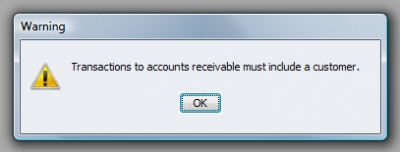 QuickBooks Premier 2009 General Ledger Warning 2