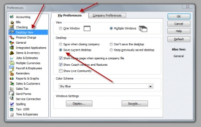 QuickBooks Premier 2009 Preferences Save Current Desktop