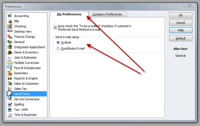 QuickBooks Premier 2009 Preferences Send Forms Email