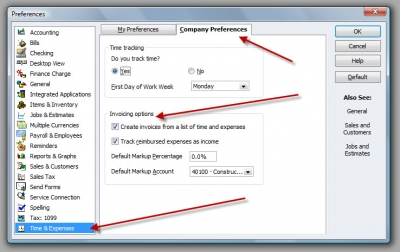 QuickBooks Premier 2009 Preferences Time & Expenses Invoicing