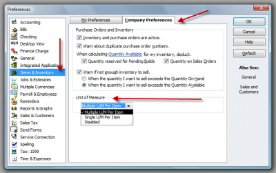QuickBooks Premier 2009 Preferences Unit of Measure
