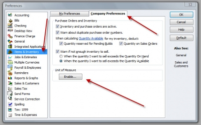 QuickBooks Premier 2009 Preferences Unit of Measure Enable