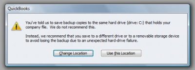QuickBooks Premier 2009 Backup Location Warning