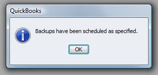 QuickBooks Premier 2009 Backup Scheduled