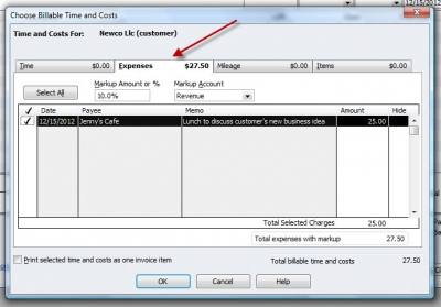 QuickBooks Premier 2009 Choose Billable Expenses