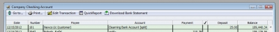 QuickBooks Premier 2009 Clearing Bank Account Checking