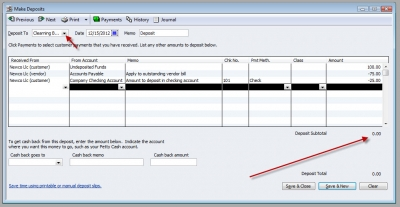 QuickBooks Premier 2009 Clearing Bank Account Make Deposit