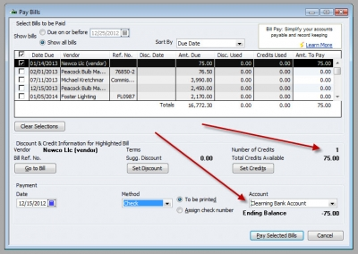 QuickBooks Premier 2009 Clearing Bank Account Pay Bills 1