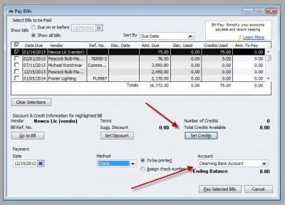 QuickBooks Premier 2009 Clearing Bank Account Pay Bills 2
