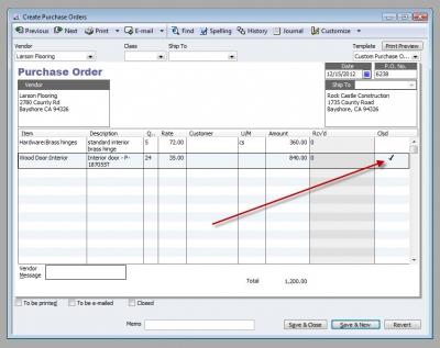 QuickBooks Premier 2009 Close Purchase Order Line Item