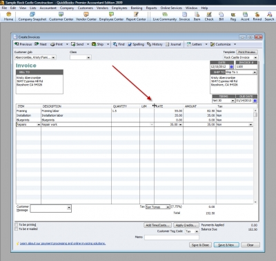 QuickBooks Premier 2009 Create Invoices Column