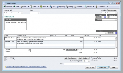 QuickBooks Premier 2009 Create Invoices for Customer NSF Check