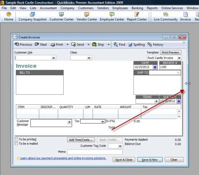 QuickBooks Premier 2009 Create Invoices Right Border